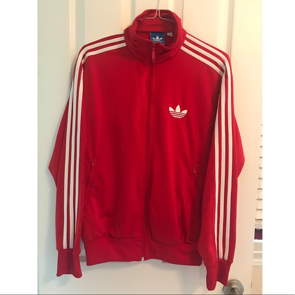 mens red adidas jacket